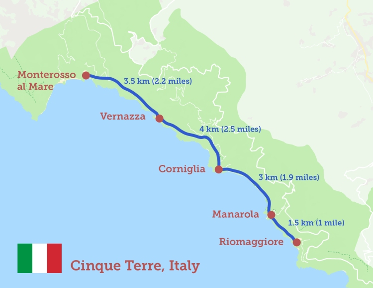 Map of Cinque Terre Walking trails