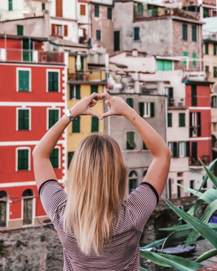 The closer view of Riomaggiore in Cinque Terre, Italy