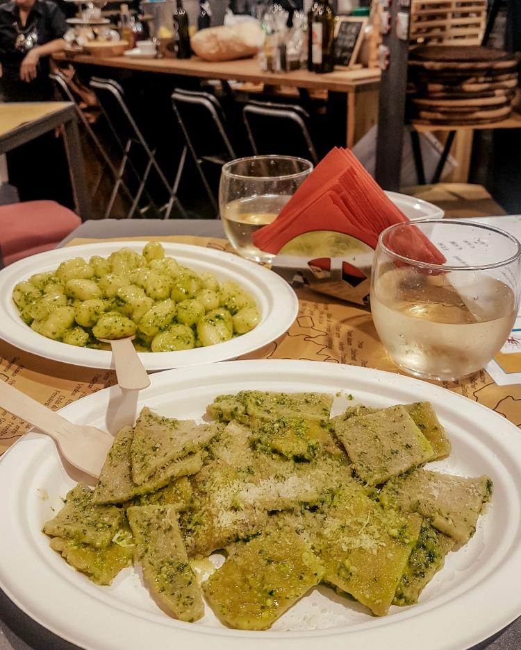 Tortellini with pesto in La Spezia, Italy