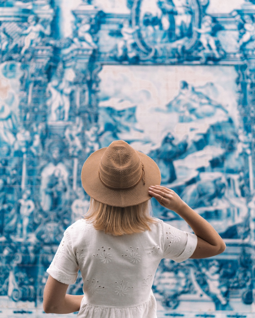 Beautiful azulejos on Chapel of Souls in Porto, Portugal