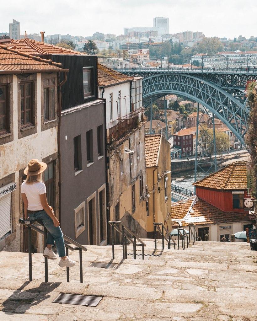 View of Luís I Bridge from R. de Arnaldo Gama in Porto, Portugal