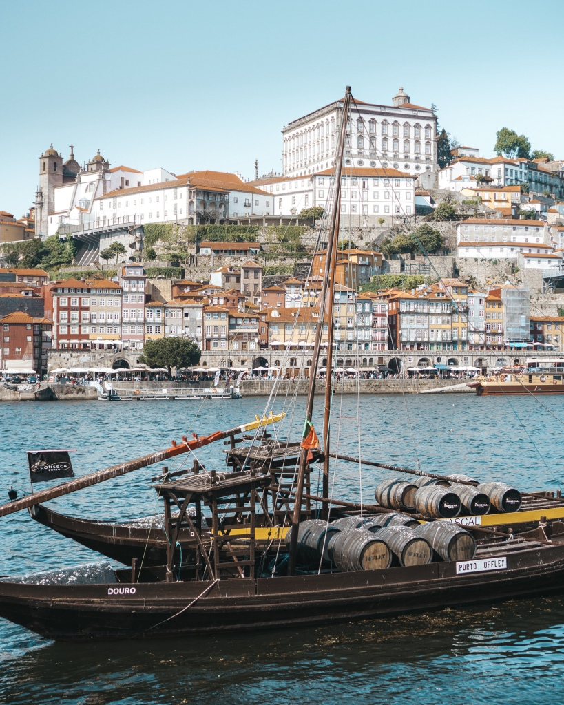 Rabelo boats in Vila Nova de Gaia in Porto, Portugal