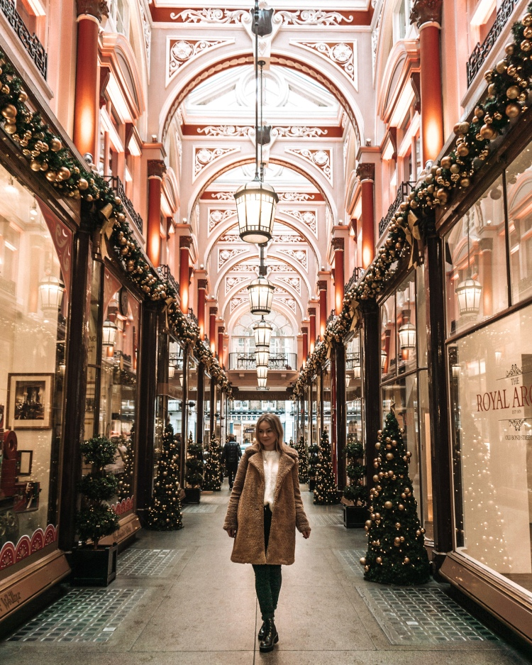 London Christmas decorations in Royal Arcade