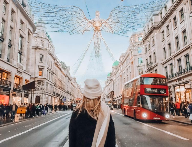 London Christmas decorations on Regent Street