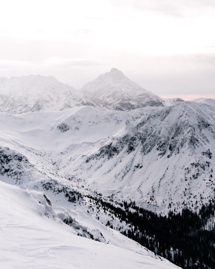 View from Kasprowy Wierch in Polish Tatra Mountains in Winter